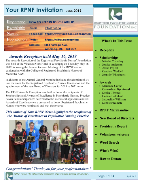 Your RPNF News – June 2019 Issue – Awards and Scholarship Recipients.